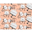 Seamless hand draw pattern with pieces of cakes vector image