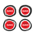 set of 4 hand drawn scribble sushi logo vector image