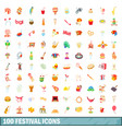 100 festival icons set cartoon style vector image vector image