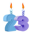 23 years birthday number with festive candle for vector image vector image
