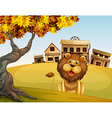 A lion in front of a wooden house vector image vector image