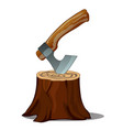 a tree stump with an axe stuck isolated on white vector image
