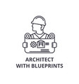 architect with blueprints line icon sign vector image vector image