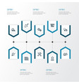 architecture outline icons set collection of vector image vector image