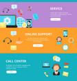 banners set call center support horizontal vector image