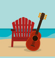 beach landscape with guitar vector image vector image