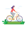 beautiful girl happily riding bicycle in flat vector image vector image