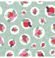 berries and leaves with circles seamless pattern vector image vector image