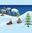 children sledding in snow d vector image vector image
