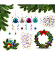 christmas decorations realistic set vector image
