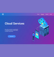 cloud services 3d lp template vector image vector image