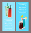 cocktail party your invitation posters set mojito vector image vector image