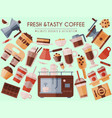 coffee beans and equipment banner vector image vector image