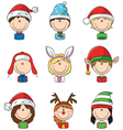 Cristmas children avatars vector image