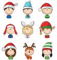 Cristmas children avatars vector image vector image