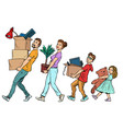 dad mom son and daughter moved to a new house vector image vector image