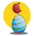 easter egg and little chicken web on a white vector image vector image