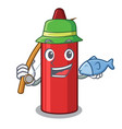 fishing red crayon in a cartoon bag vector image