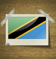 Flags Tanzaniaat frame on a brick background vector image vector image