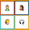 flat icon telemarketing set of earphone call vector image vector image