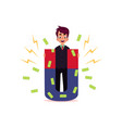 flat office man attracting money by magnet vector image vector image