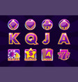 gaming icons of card symbols for slot machines or vector image vector image