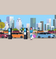 girl driver paying to parking place smartphone vector image