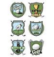 golf sport heraldic icons vector image
