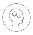 Human head with gear line icon vector image vector image