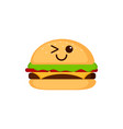 isolated happy burger emote vector image vector image