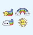 kawaii rainbows icon vector image