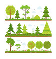 landscape set with forest trees and other floral vector image