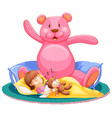 little girl sleeping in bed with big teddy bear vector image vector image