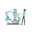 male scientist working with robot conducting vector image vector image