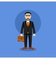 Man in Business Suit Icon with case vector image