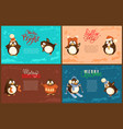 merry christmas penguin scarf skiing character vector image vector image