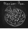 Mexican pizza drawn in chalk on a blackboard vector image