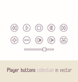 Multimedia player icons set Outline buttons for vector image vector image