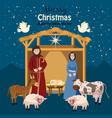 nativity scene set of cute people animals vector image vector image