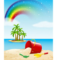 Ocean view with toys on the sand vector image vector image