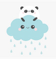 panda bear face holding cloud in sky rain vector image vector image