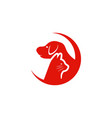 pet clinic logo design template cat and dog vector image