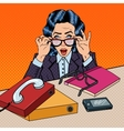Pop Art Stressed Business Woman at the Office Work vector image vector image