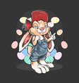 rabbit cartoon and easter egg vector image