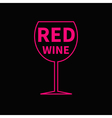 Red wine glass Black background vector image vector image