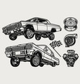 retro custom cars vintage monochrome concept vector image vector image