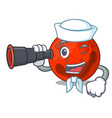 sailor with binocular mars planet mascot cartoon vector image vector image
