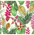 seamless floral pattern with hand drawn jungle vector image vector image