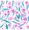 seamless pattern cute stylish tulips vector image vector image