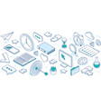 set business isometric icons vector image